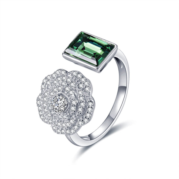 925 Sterling Silver Flower Open Ring With Green Zirconia - onlyone