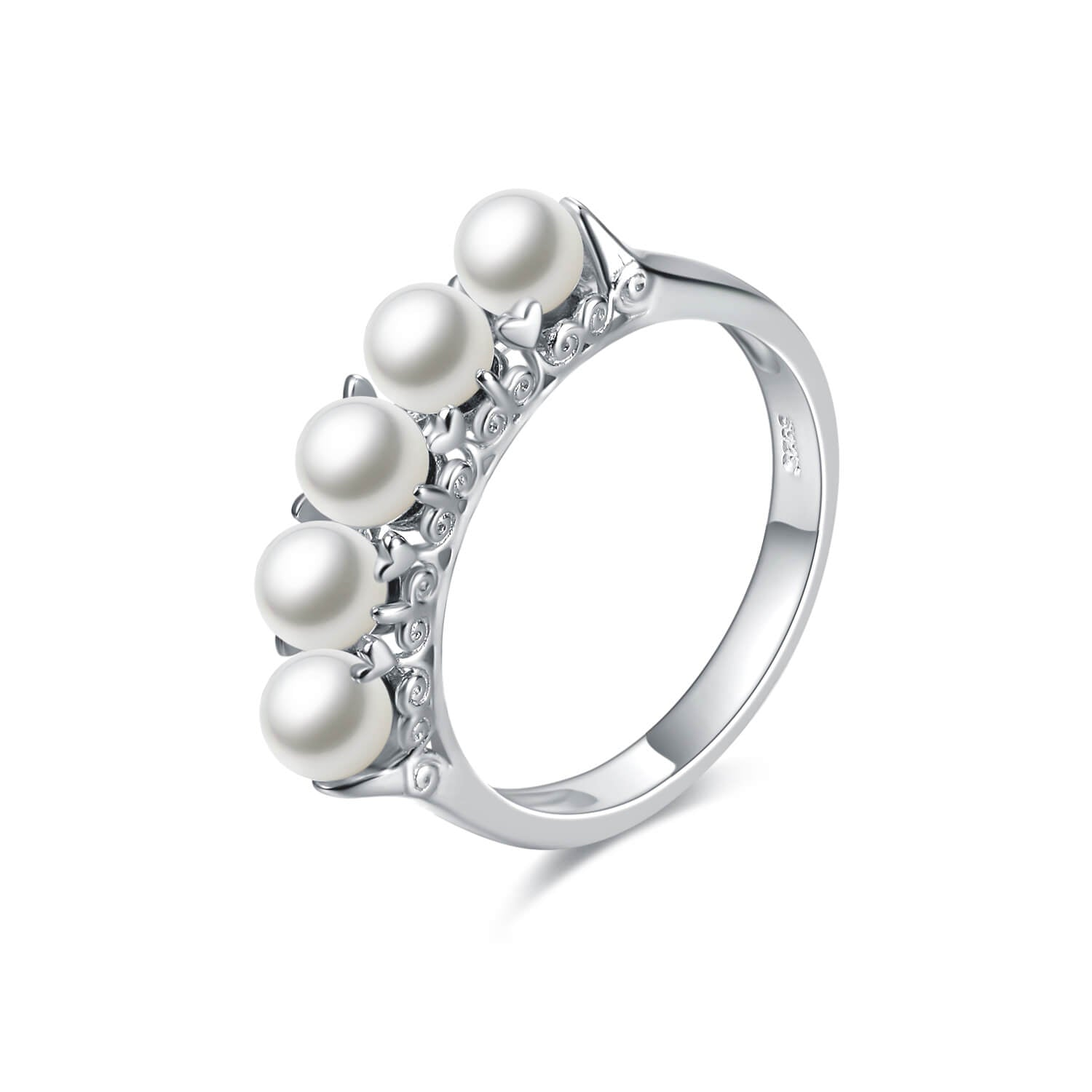 925 Sterling Silver Freshwater Cultured Pearl Band Ring - onlyone