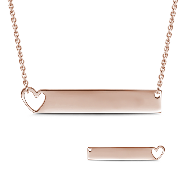 925 Sterling Silver Special Date Roman Numerals Engraved Bar Necklace With Hollow Heart - onlyone