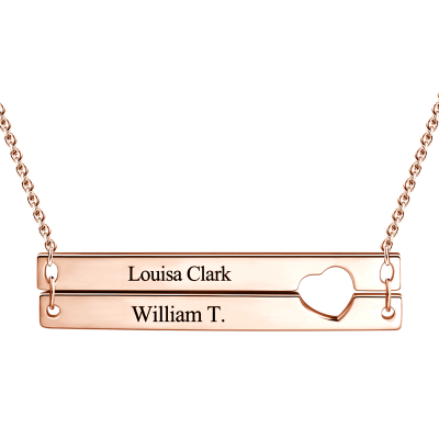 925 Sterling Silver Cut out Heart Double Bar Necklace Engraved Bar Name Necklace, Gift For Mom - onlyone