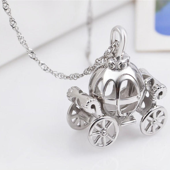 925 Sterling Silver Halloween Cinderella Pumpkin Carriage Necklace - onlyone