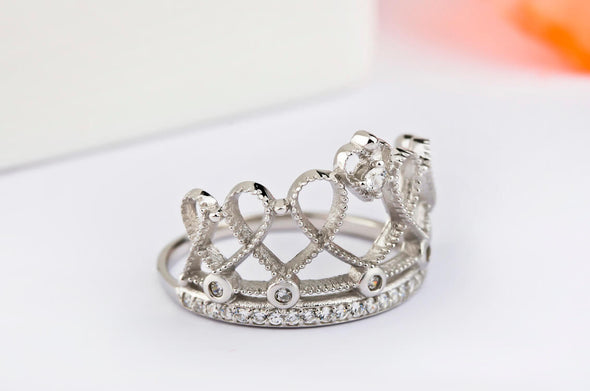 925 Sterling Silver Heart Crown Ring - onlyone