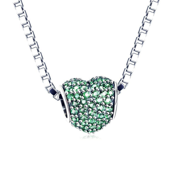 925 Sterling Silver Green Cubic Zirconia Heart Charm Fit for Bracelet and Necklace - onlyone