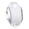 925 Sterling Silver Diamond Faced White Glass Sterling Silver Charm for Bracelet and Necklace - onlyone