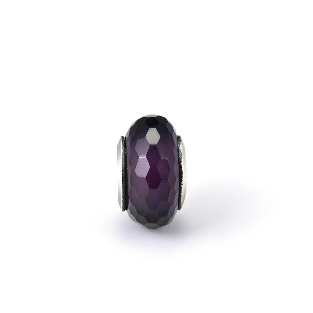 925 Sterling Silver Diamond Faced Purple Glass Sterling Silver Charm for Bracelet and Necklace - onlyone