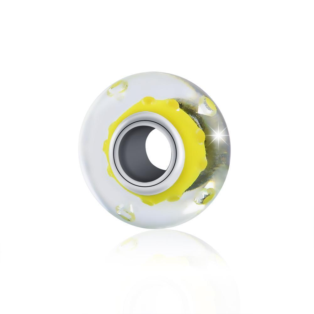 925 Sterling Silver Yellow Built-in Bubble Glass Charm for Bracelet and Necklace - onlyone