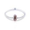 925 Sterling Silver Brown Built-in Diamond Glass Charm for Bracelet and Necklace - onlyone