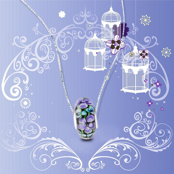 925 Sterling Silver Colorful Flower Glass Charm for Bracelet and Necklace - onlyone