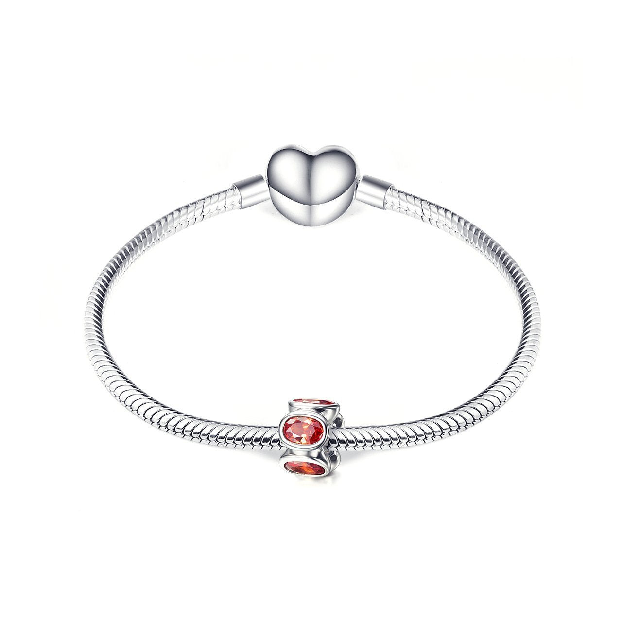 925 Sterling Silver Red Cubic Zirconia Bracelet Charm For Bracelet and Necklace - onlyone