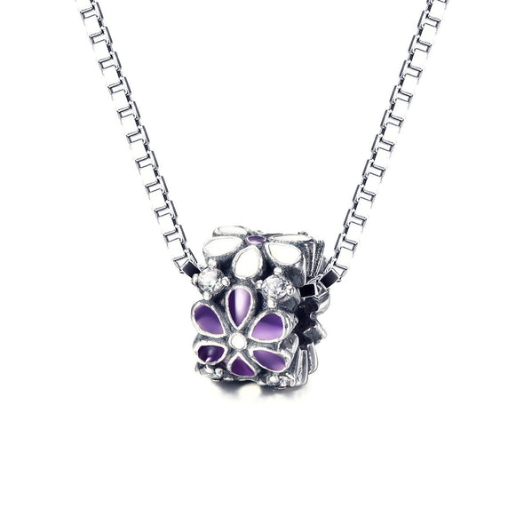 925 Sterling Silver Purple/White Flowers Rhinestones Charm For Bracelet and Necklace - onlyone