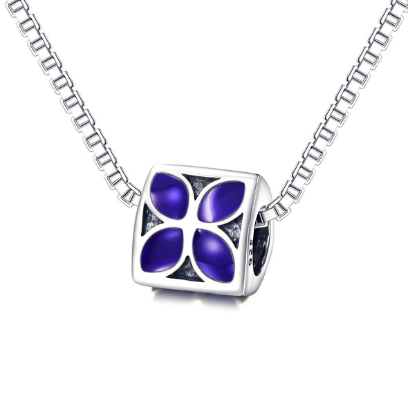925 Sterling Silver Purple Flower Charm For Bracelet and Necklace - onlyone