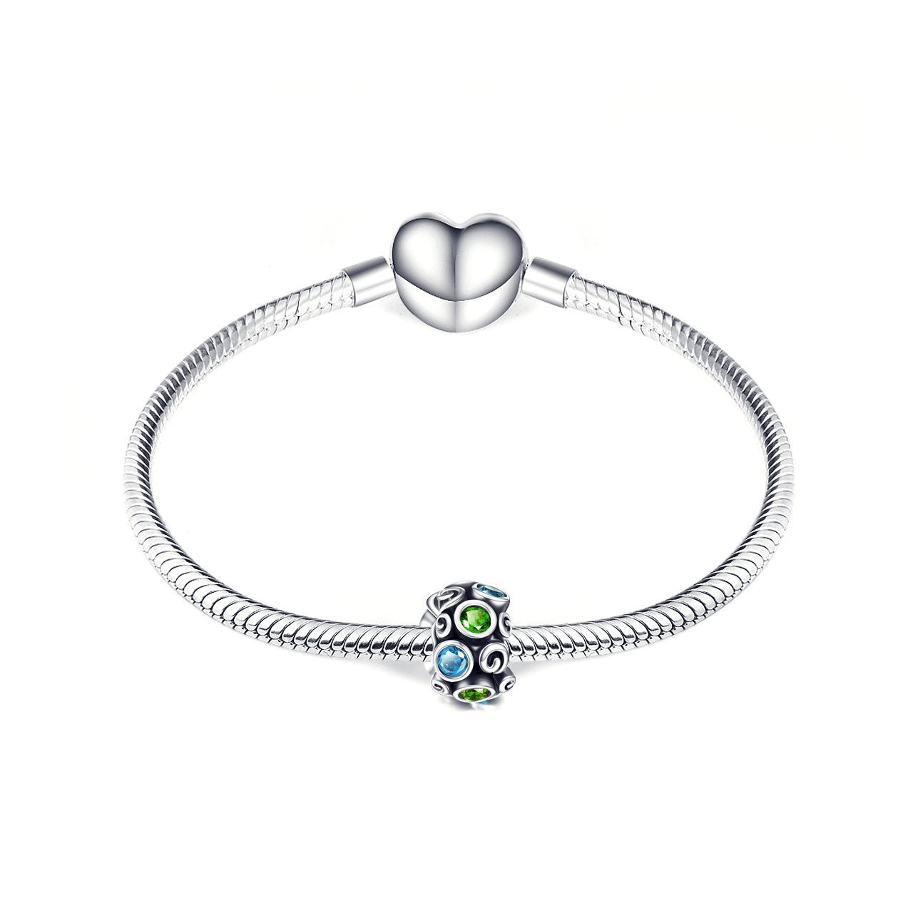 925 Sterling Silver  Fashion Colorful Cubic Zircon Bracelet Charm For Bracelet and Necklace - onlyone