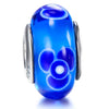 925 Sterling Silver  Blue Flower Glass Charm for Bracelet and Necklace - onlyone