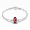 925 Sterling Silver Red Murano Glass Charm for Bracelet and Necklace - onlyone