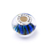 925 Sterling Silver Blue Waves Glass Charm for Bracelet and Necklace - onlyone