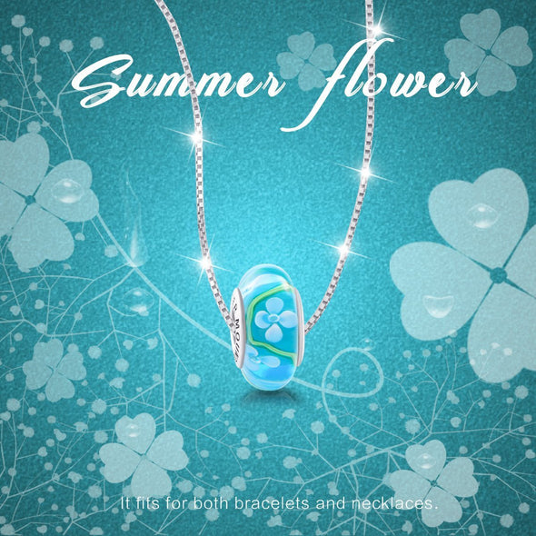 925 Sterling Silver Flower Cyan Blue Glass Charm for Bracelet and Necklace - onlyone