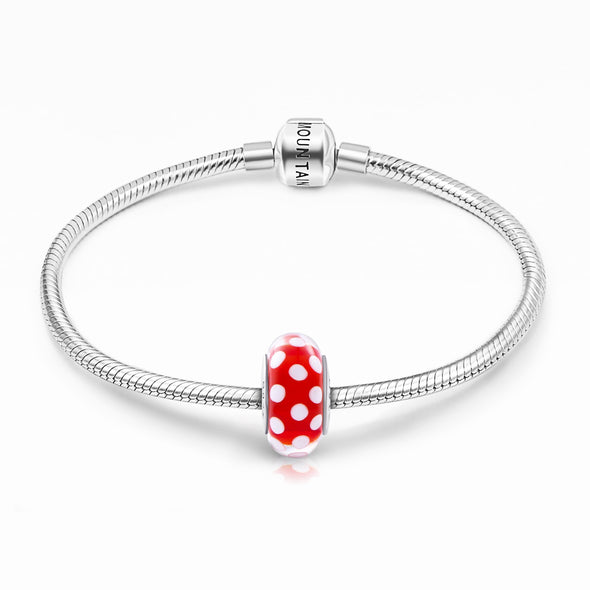 925 Sterling Silver Spots Red Glass Charm for Bracelet and Necklace - onlyone