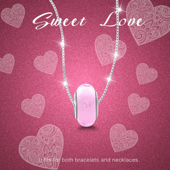925 Sterling Silver Build-in Diamond Hearts Pink Glass Charm for Bracelet and Necklace - onlyone
