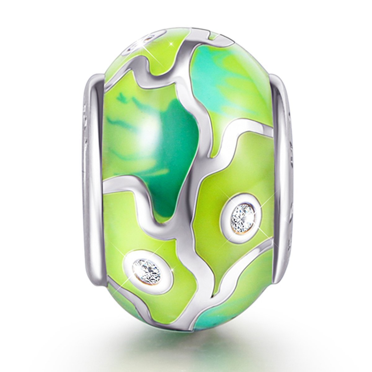 925 Sterling Silver Abstract Painting Craft Charm for Bracelet and Necklace - onlyone