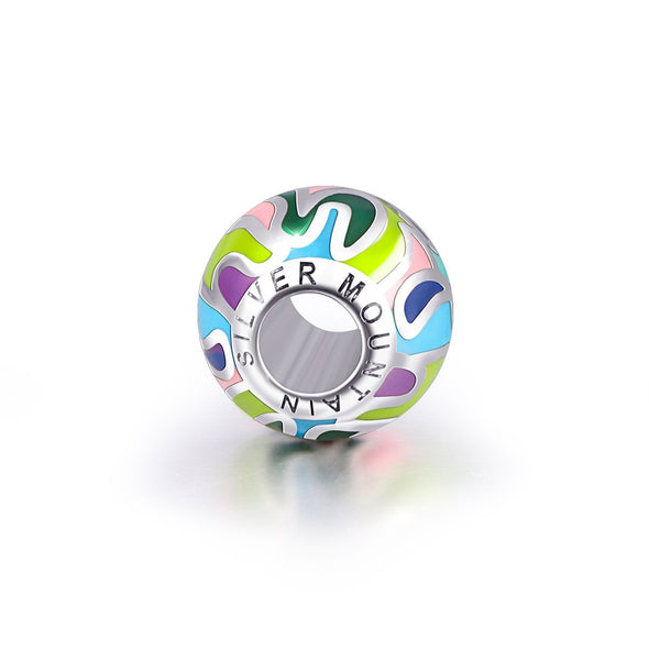 925 Sterling Silver Abstract Painting Craft Colorful Charm for Bracelet and Necklace - onlyone