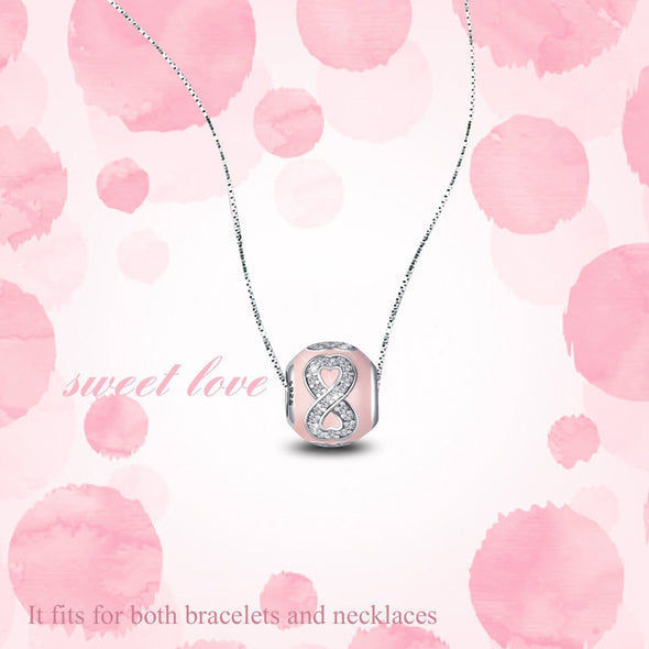 925 Sterling Silver Infinite Love Pink Charm For Bracelet and Necklace - onlyone