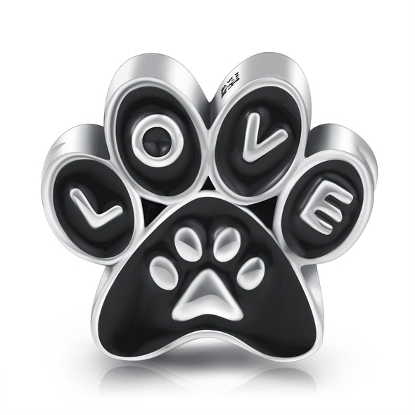 925 Sterling Silver Pets Paw Love Charm for Bracelet and Necklace - onlyone