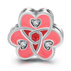 925 Sterling Silver Triple Heart Love Pink Charm for Bracelet and Necklace - onlyone