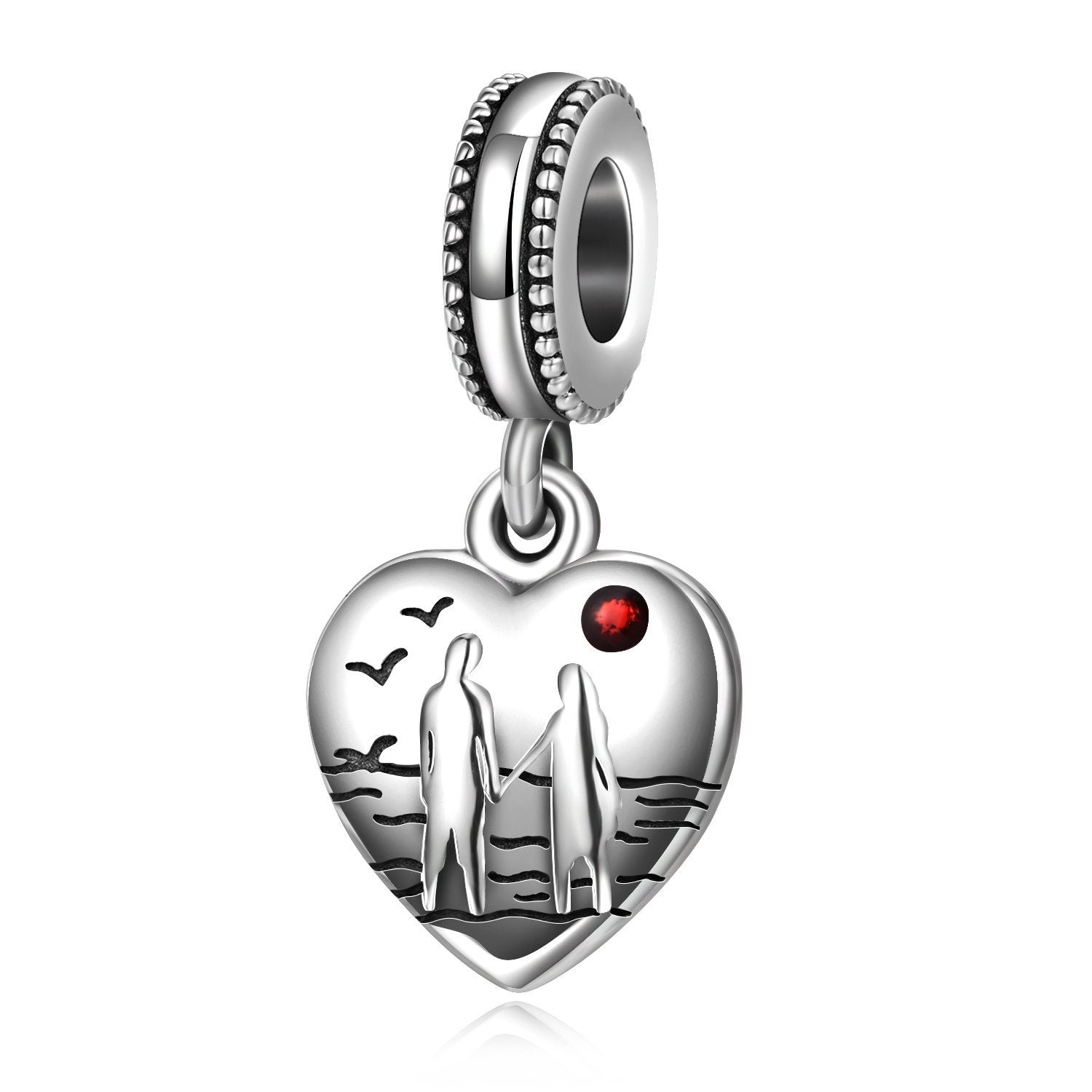 925 Sterling Silver Couples Lover Heart Sterling Silver Charm for Bracelet and Necklace - onlyone