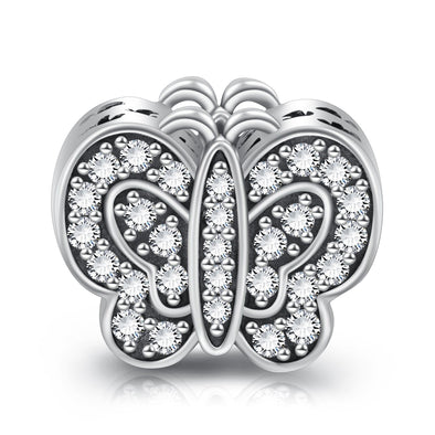 925 Sterling Silver Rhinestone Butterfly Charm for Bracelet and Necklace - onlyone