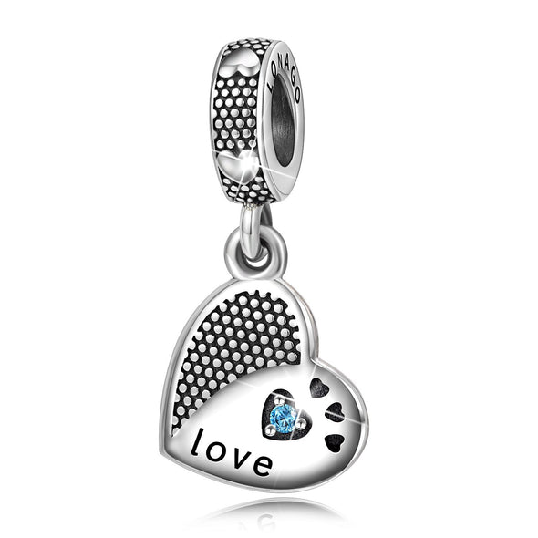 925 Sterling Silver Love Heart Charms Fit for Bracelet and Necklace - onlyone