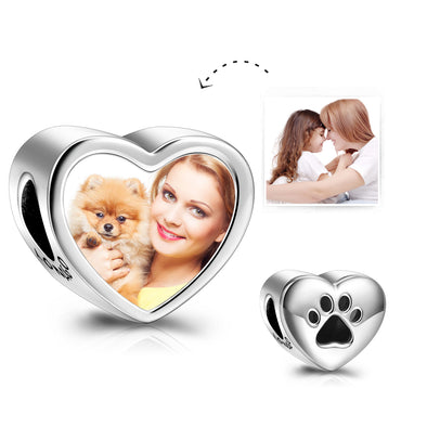925 Sterling Silver Customized Photo Beads Pendant Heart Shaped Dog Paw Beads For Bracelets And Necklaces - onlyone