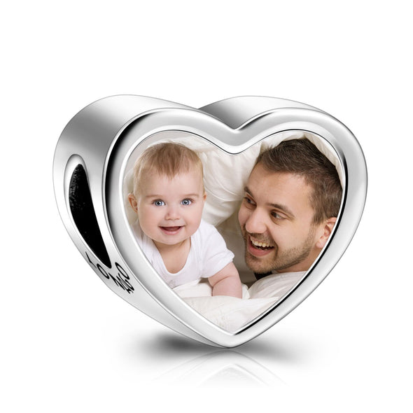 Personalized Photo Love Heart Charm in  925 Sterling Silver - onlyone