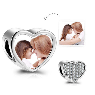 925 Sterling Silver Personalized Photo Rhinestone Love Heart Charm - onlyone