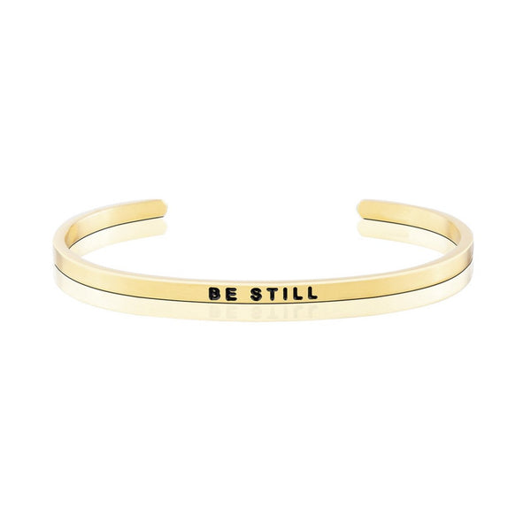 "Personalized Peace Series Engraved Cuff 6""7.5""-Personalized Cuffs-YAFEINI-Gold-BE STILL-yafeini-personalized-custom-jewelry"