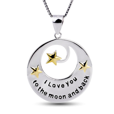 "sterling silver i love you the moon and back necklace 18"" - onlyone"
