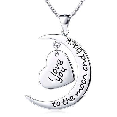 "Sterling silver I love you to the moon and back star necklace 18"" - onlyone"