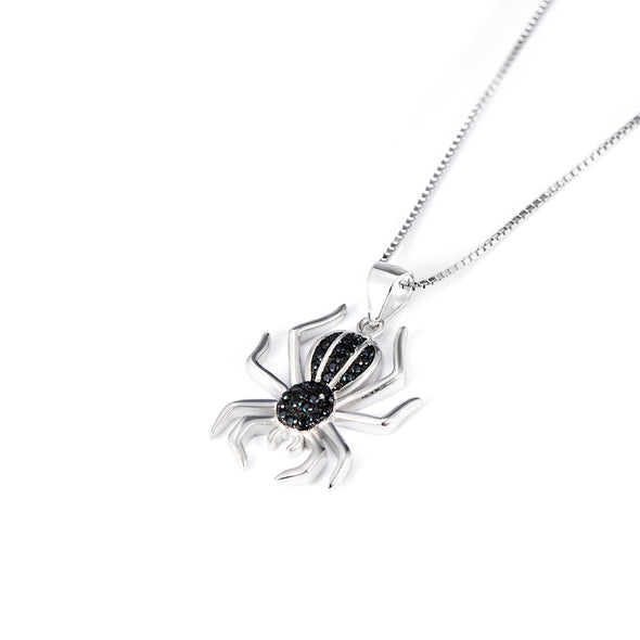 925 Sterling Silver Halloween Black Spider Necklace - onlyone