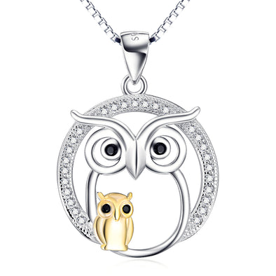 925 Sterling Silver Halloween Owl Mom & Babe Necklace With White Zircon - onlyone