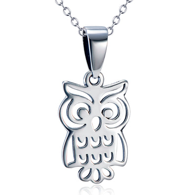 925 Sterling Silver Cute Halloween Owl Necklace - onlyone