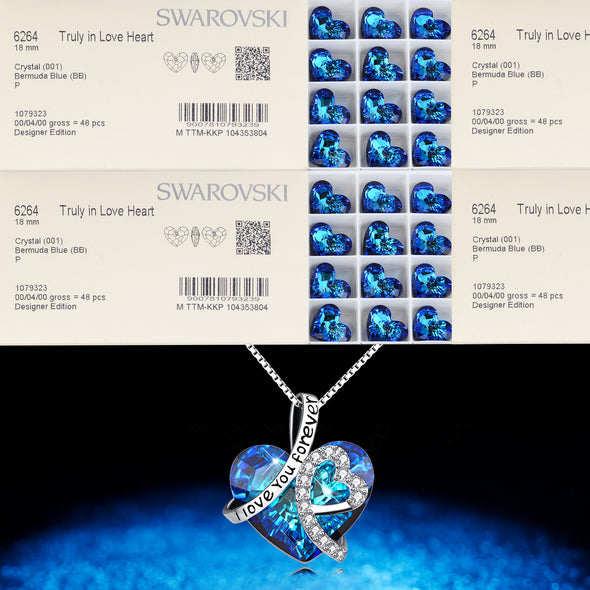 925 Sterling Silver Heart Pendant Necklace with Blue Swarovski Crystals I Love You Forever - onlyone