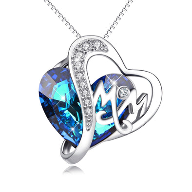 925 Sterling Silver Crystals Heart Pendant Necklace Gift For Mom - onlyone