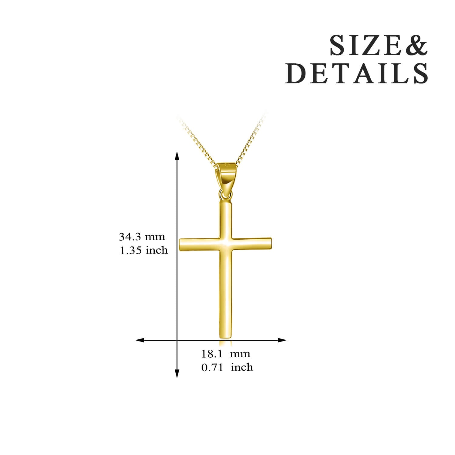 925 Sterling Silver Gold Cross Necklace For Women - onlyone