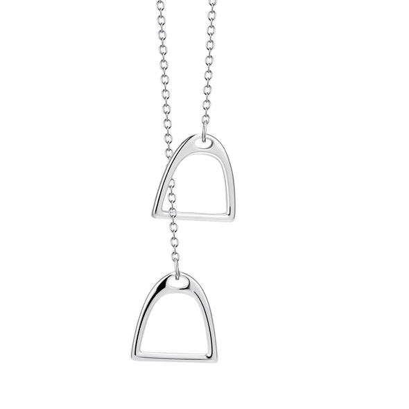 925 Sterling Silver Double Horse Stirrup Necklace - onlyone