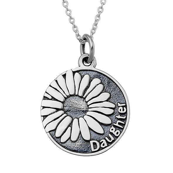 925 Sterling Silver Sunflower and Daughter Retro Round Pendant Necklace - onlyone