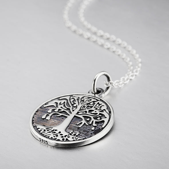 Genuine 925 Silver Retro Engraved 2 Sides the Family Tree Vintage Necklace - onlyone