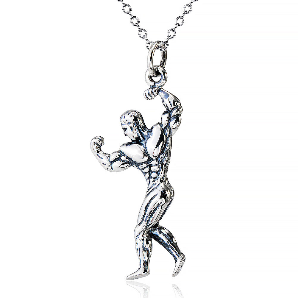 925 Sterling Silver Fitness Man Pendant Necklace - onlyone