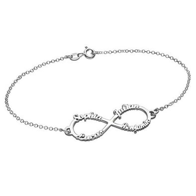 "925 Sterling Silver Personalized Infinity Up To 4 Names Bracelet 6""-7.5"" Nameplate Bracelet - onlyone"