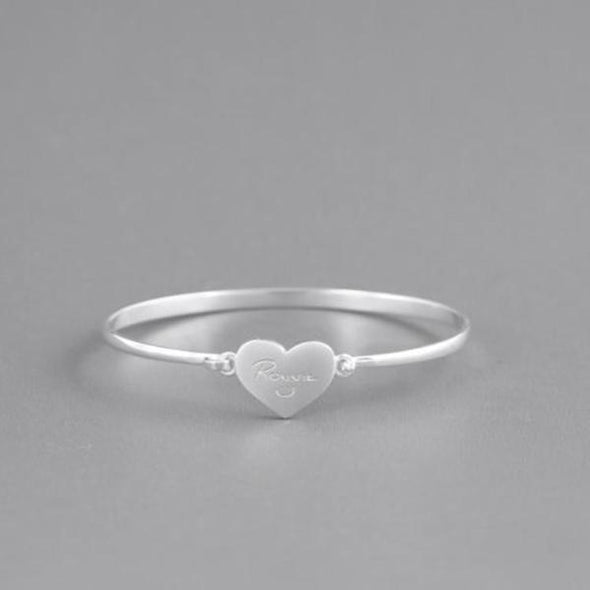 925 Sterling Silver Personalized Love Heart Signature Bangle - onlyone