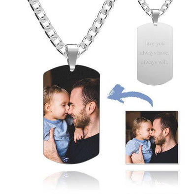 Stainless Steel Dog Tag Photo Necklace With 925 Sterling Silver Curb Chain