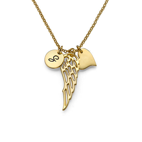 925 Sterling Silver Initial Engraved Angel Wing Necklace - onlyone